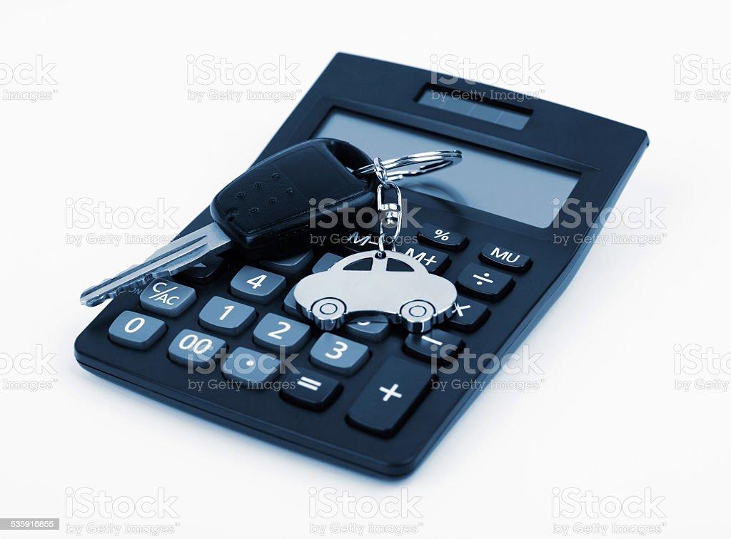 Car Key and Calculator stock photo