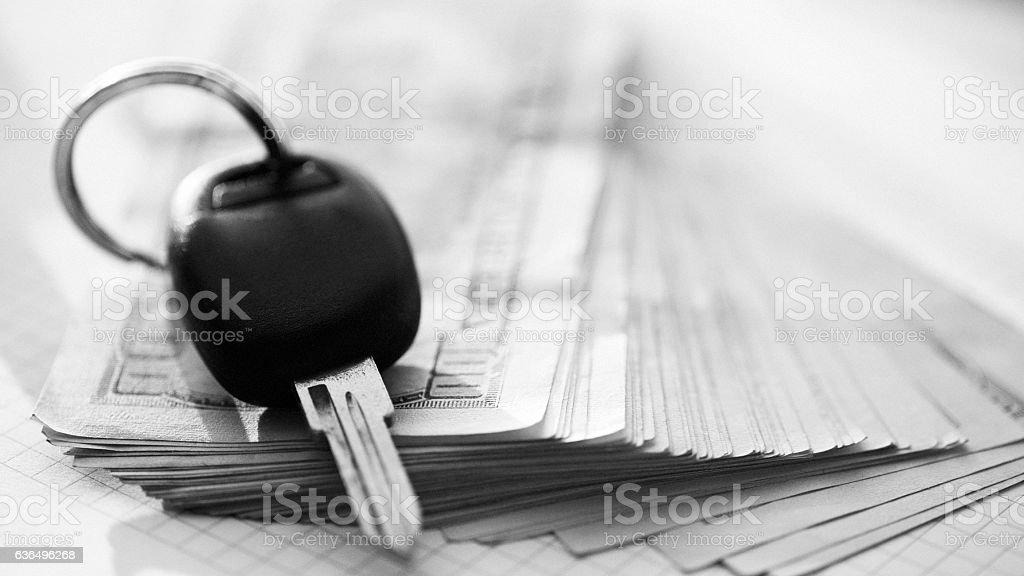 Car Key and Dollars stock photo