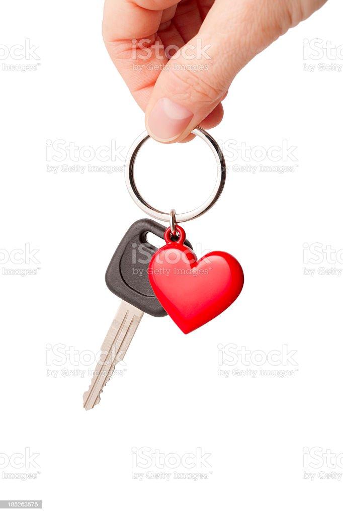 Car key and heart shaped keyring stock photo