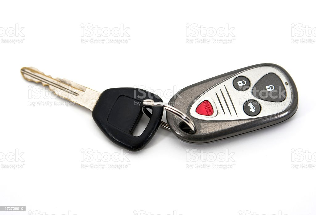 Car Key and Remote Control Isolated on White Background royalty-free stock photo