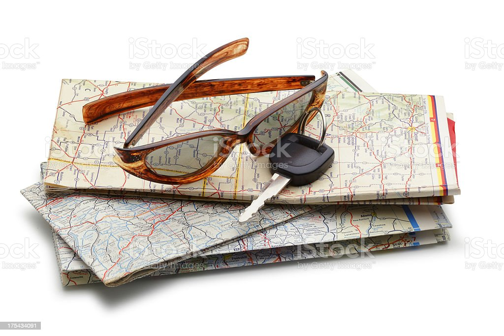 Car Key And Sunglasses On Road Map royalty-free stock photo