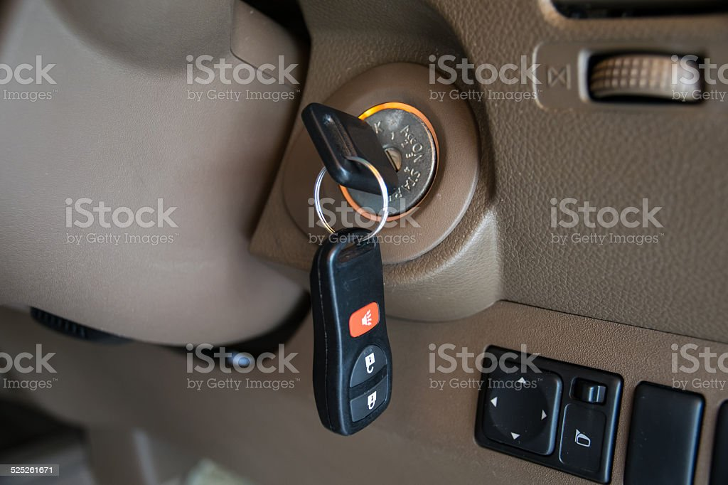 car key in ignition start lock stock photo