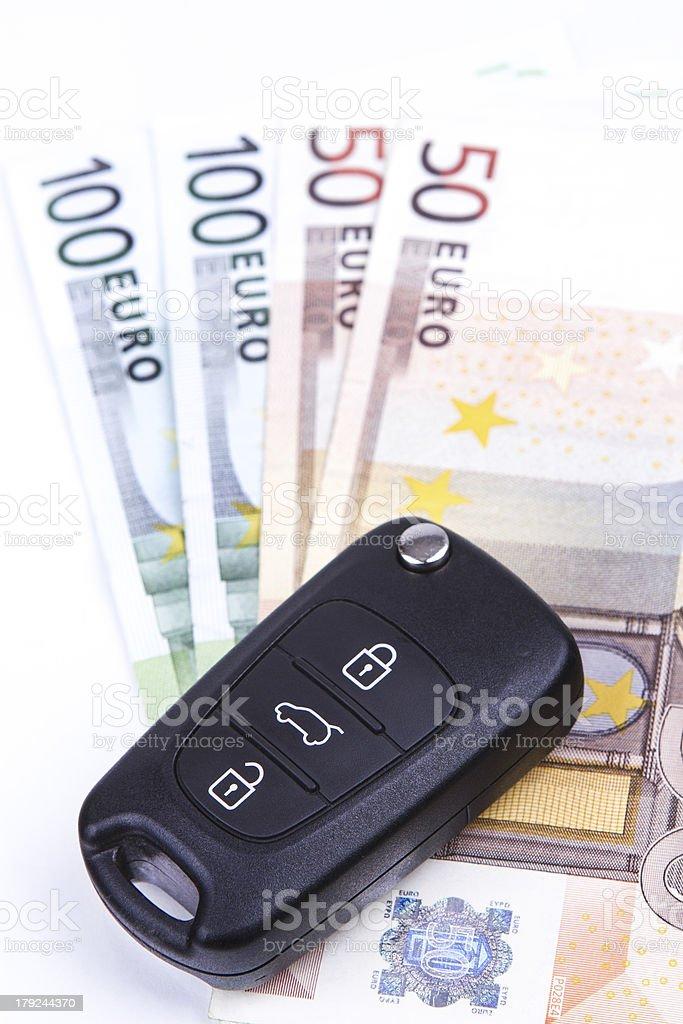 Car key on the money royalty-free stock photo