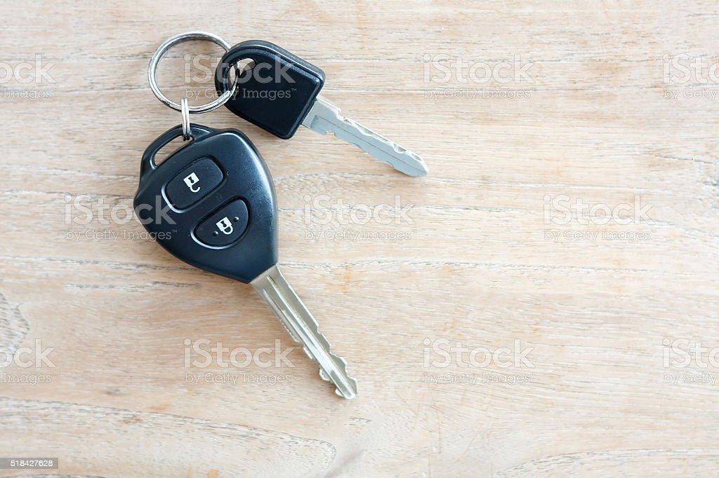 Car Key on wood background stock photo