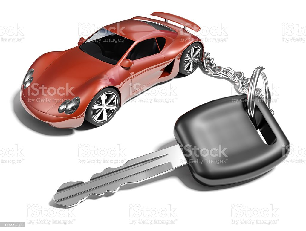 Car key with a sports car key ring stock photo