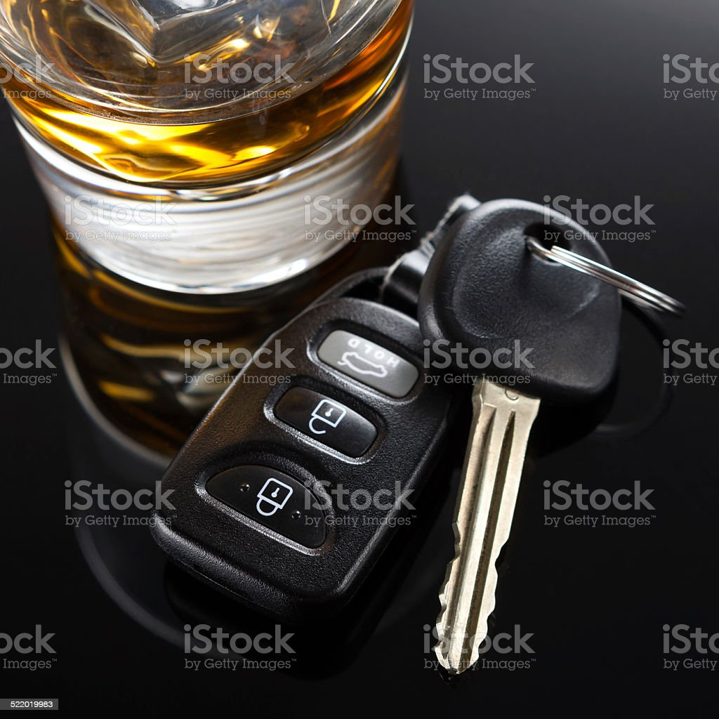 Car Keys and Alcoholic Drink stock photo