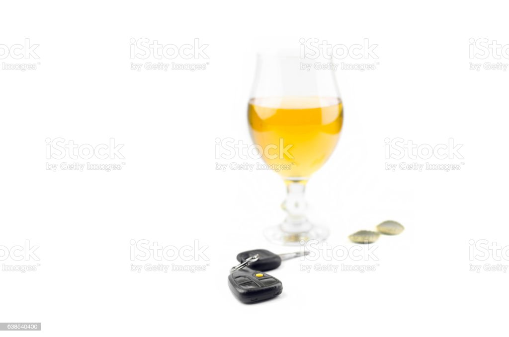 Car Keys And Glass Beer stock photo