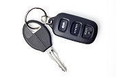 Car Keys and Remote on White with Clipping Path