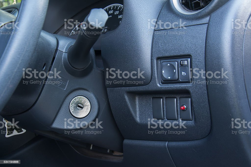 Car keys in ignition stock photo