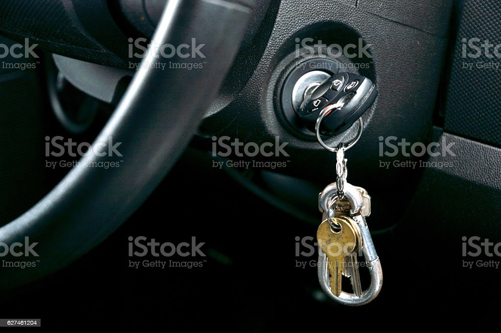 Car keys in the ignition stock photo