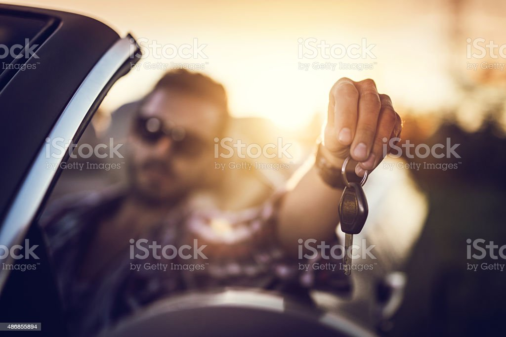 Car keys of a new cabriolet. stock photo