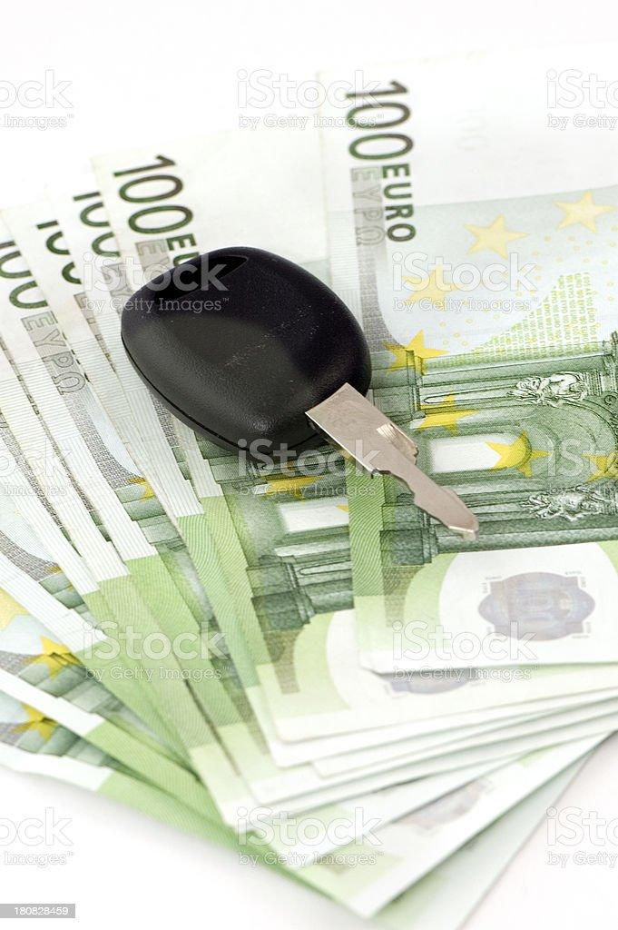 Car Keys on 100 Euro Banknotes. royalty-free stock photo