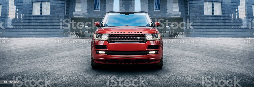 Car Land Rover Range Rover in the city at daytime stock photo