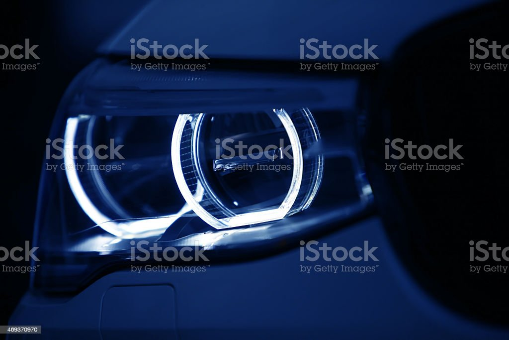 Car LED headlight stock photo