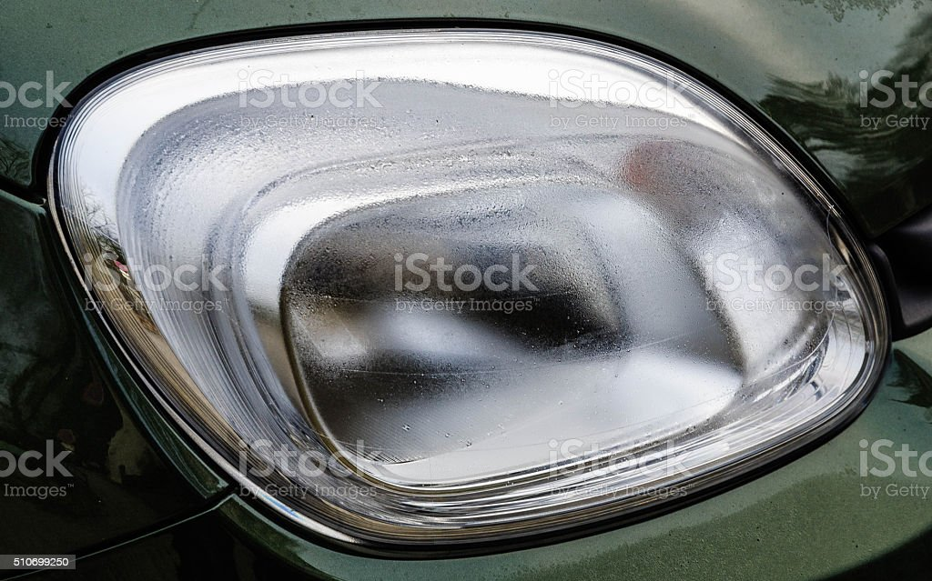 Car light on a winter day stock photo