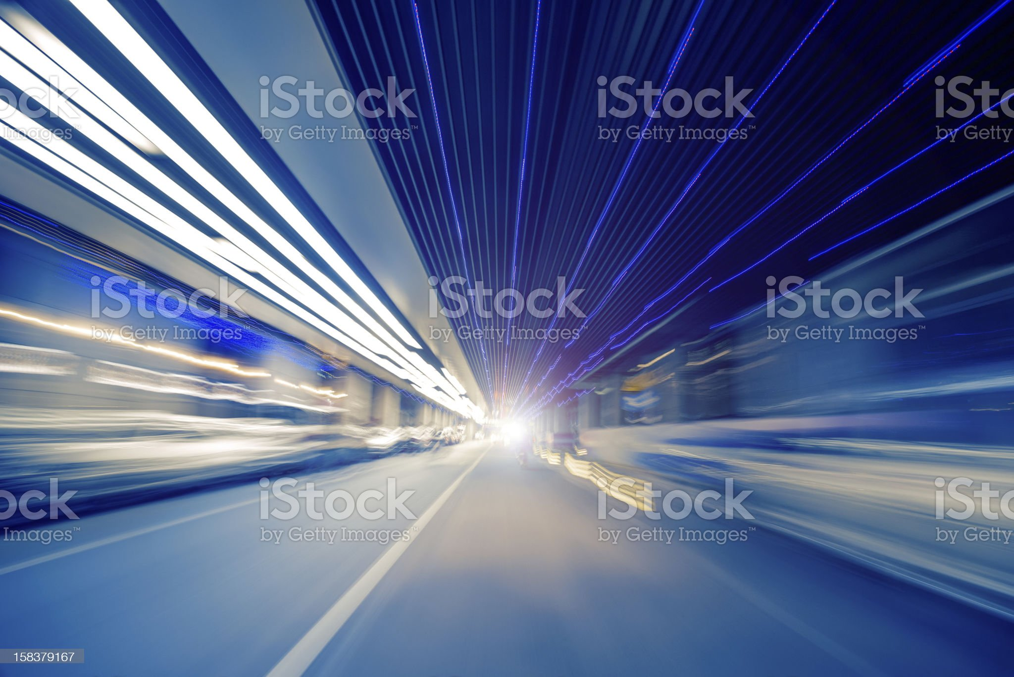 Car light trails in the city royalty-free stock photo