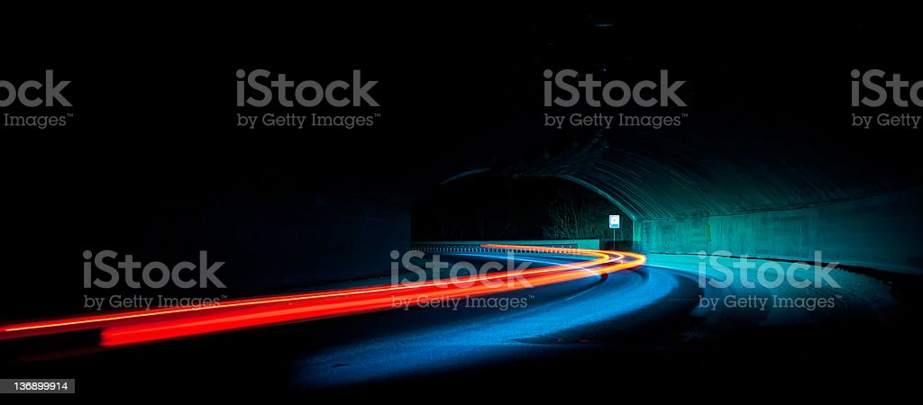 Car light trails in the tunnel stock photo