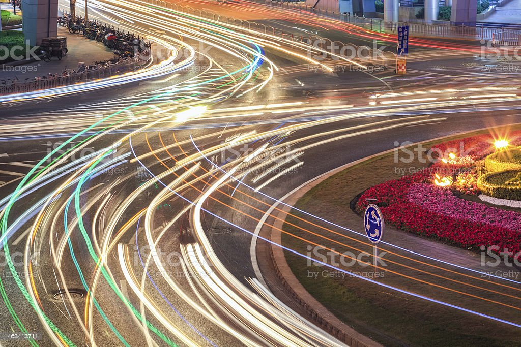 car light trails on road stock photo