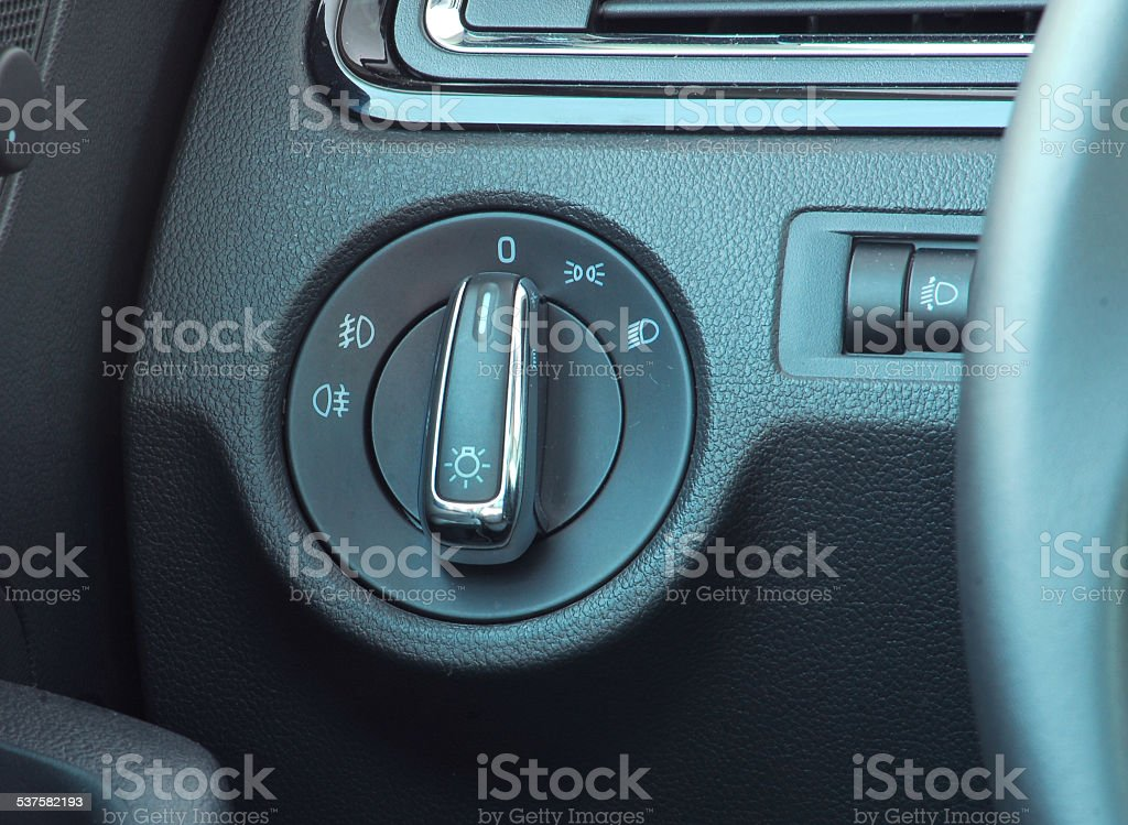 car lighting switch stock photo