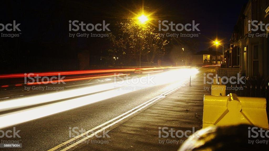 Car Lights At Night stock photo
