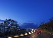 Car lights, driving at night speed