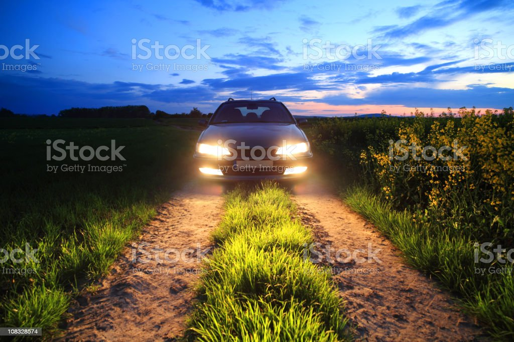 Car lights in the field royalty-free stock photo