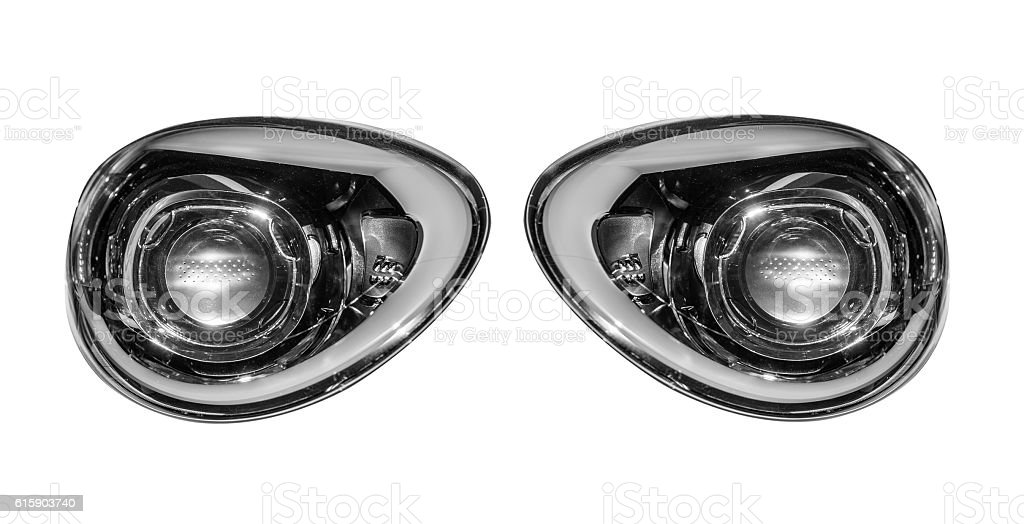 Car lights isolated on white background. stock photo