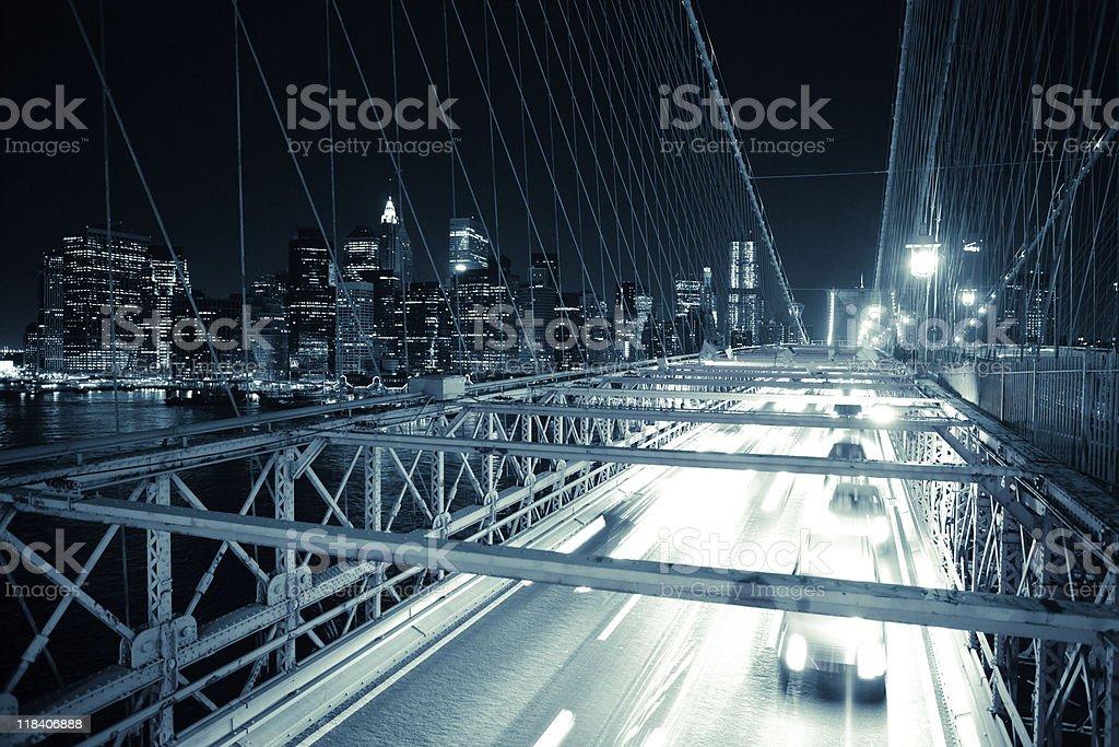 Car lights on Brooklyn bridge, toned image royalty-free stock photo