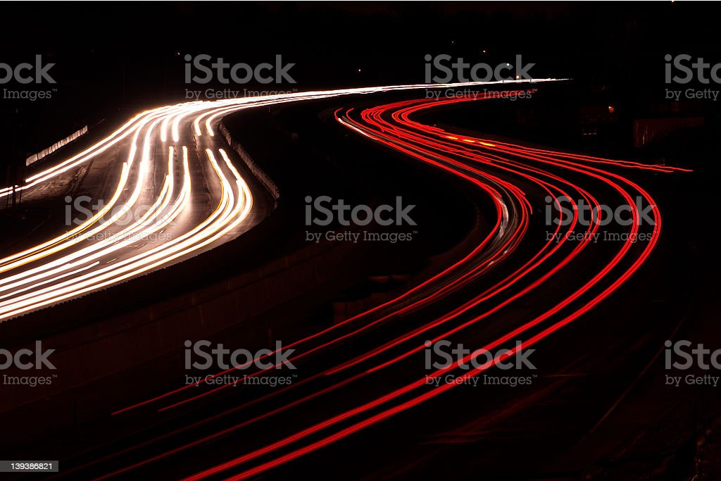 Car Lights on the Interstate stock photo