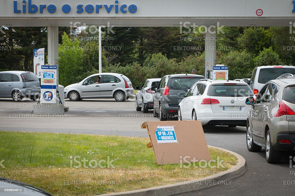 car line for the fuel shortage stock photo