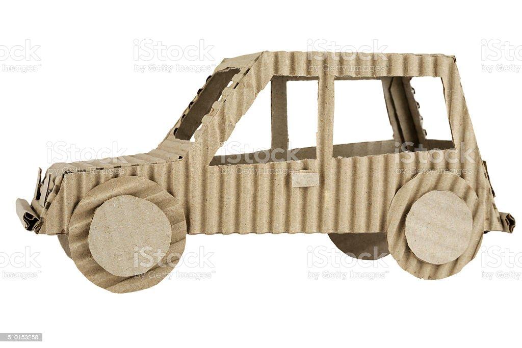 Car made of corrugated cardboard stock photo