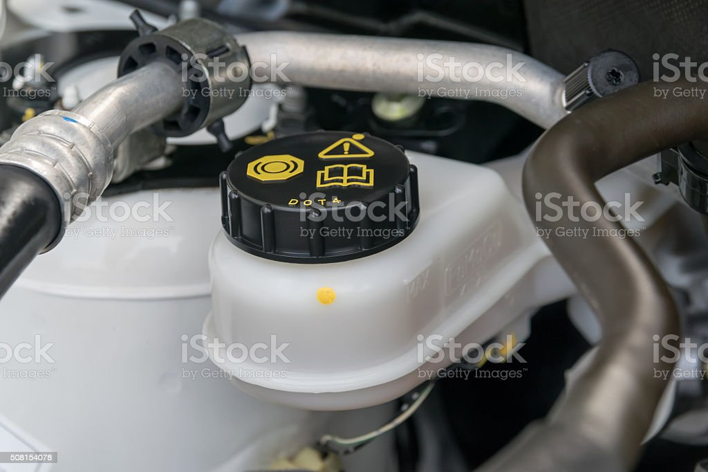 car maintenance, check the level of brake and clutch fluid stock photo