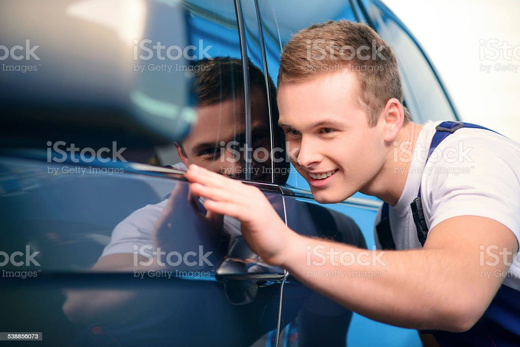 Car mechanic at the service station stock photo