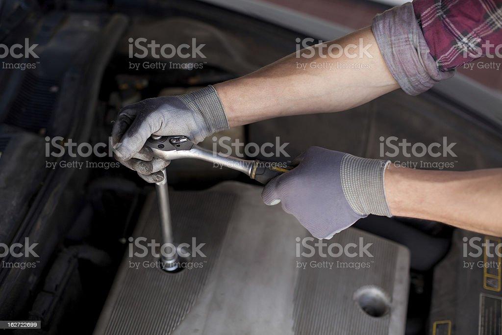 Car mechanic close-up stock photo
