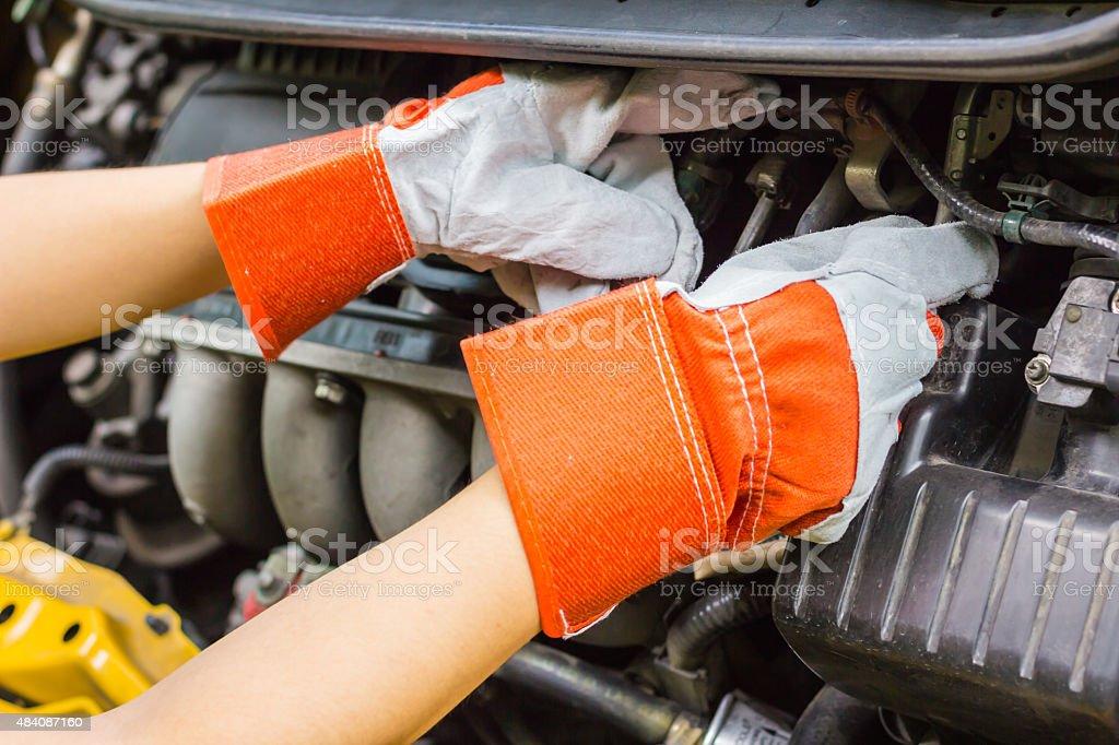 car mechanic in his repair stock photo