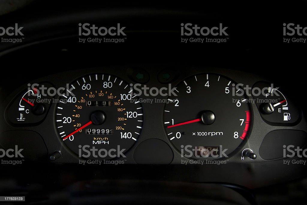 Car Mileometer 100,000 Miles royalty-free stock photo
