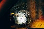 Car mirror night defocused view