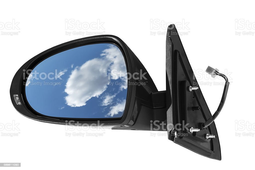 car mirror on a white background stock photo