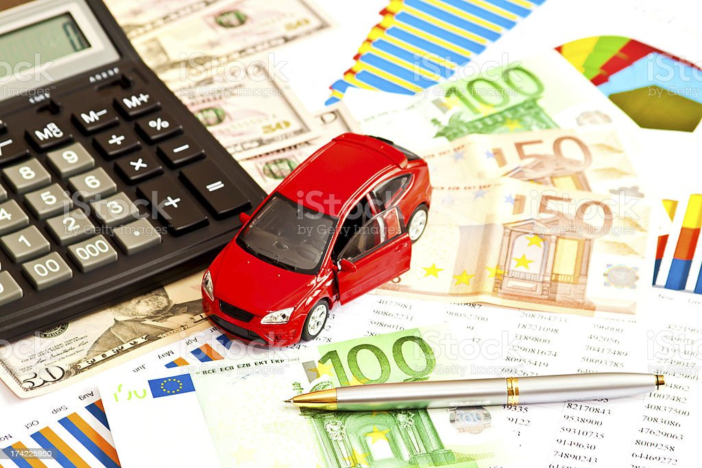 Car, money and other business staff royalty-free stock photo