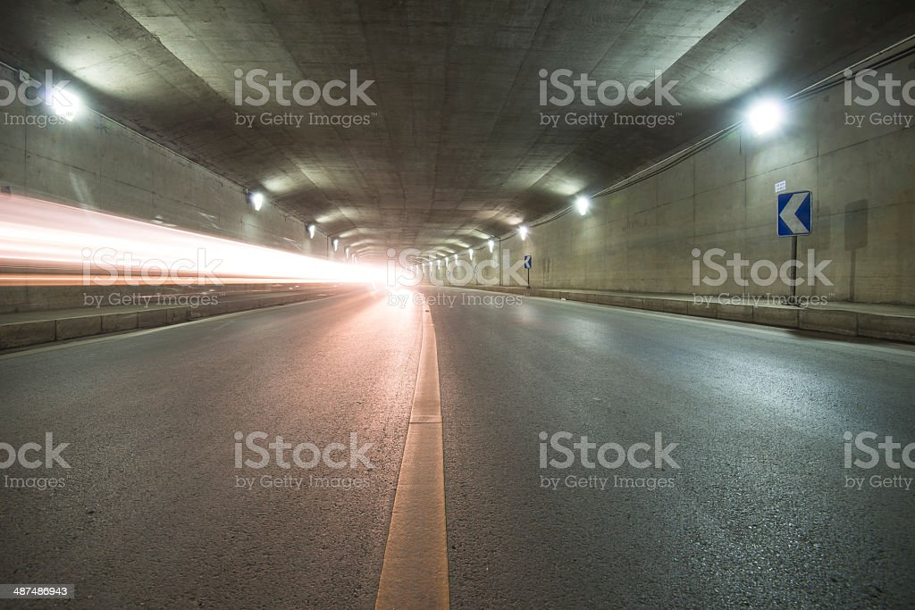 car moving in Tunnel stock photo