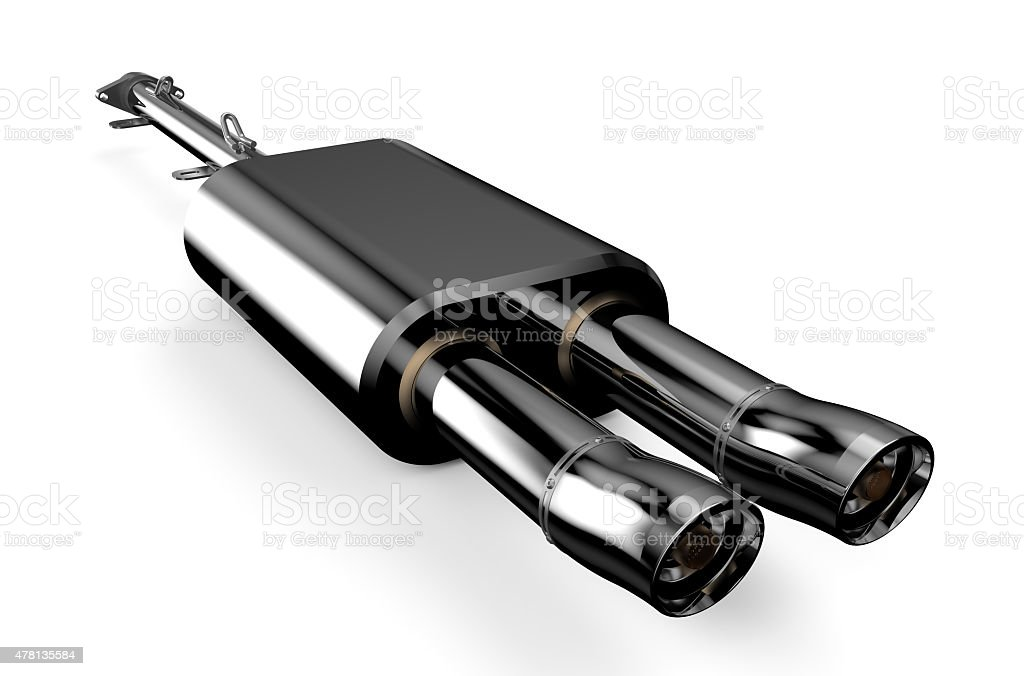 Car muffler, exhaust silencer stock photo