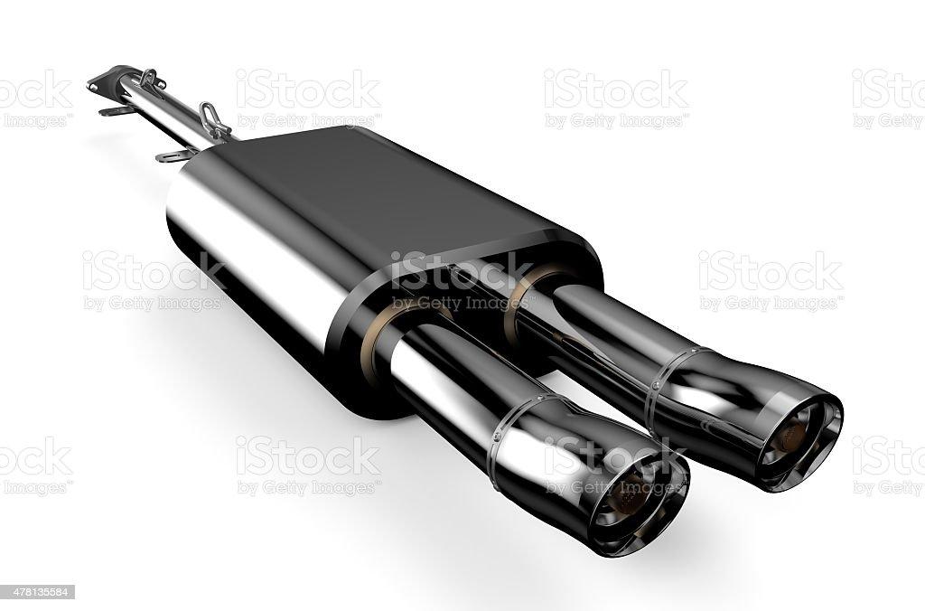 Car muffler, exhaust silencer stock photo