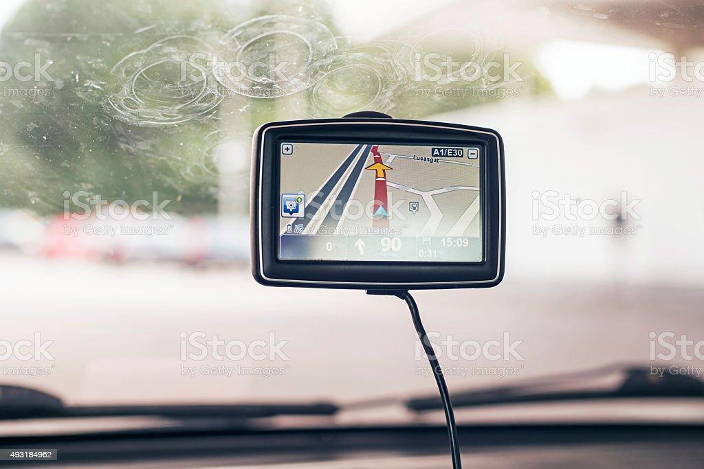 Car navigation system on window. stock photo