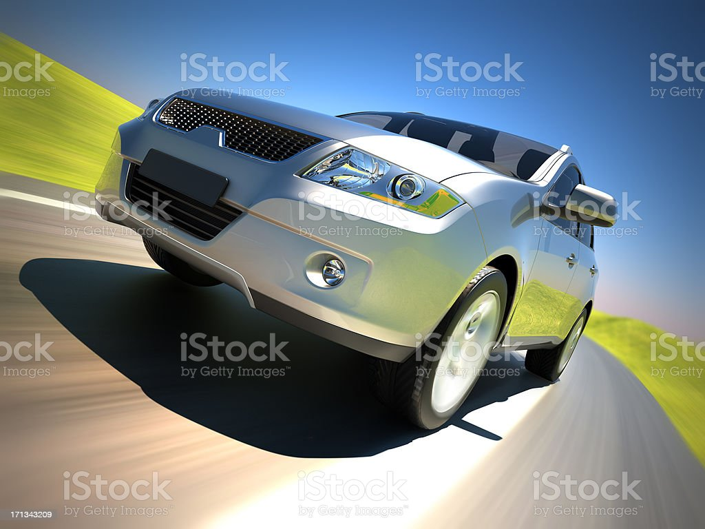 Car on a road in the country stock photo