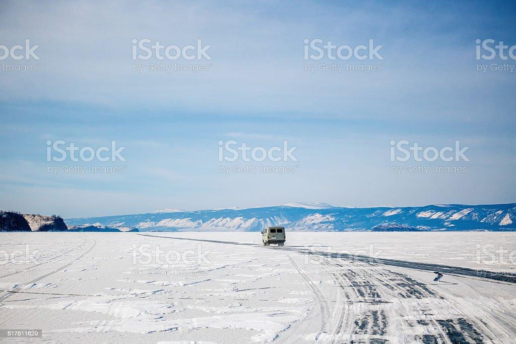car on Baikal surface stock photo