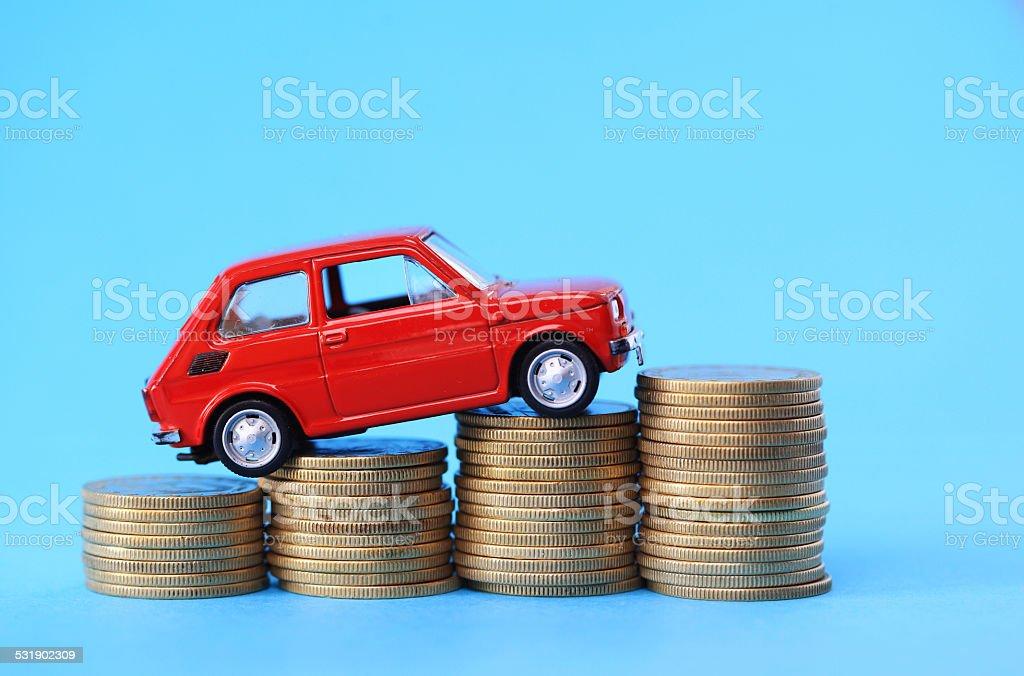 Car on coins stock photo