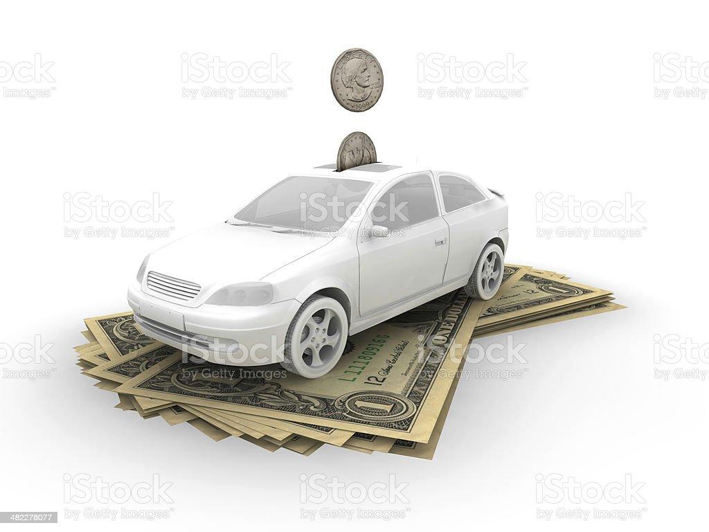 Car on dollar bills stock photo