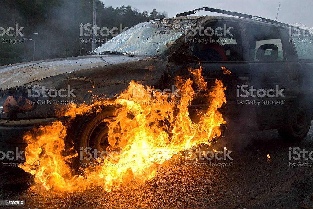 Car on fire royalty-free stock photo
