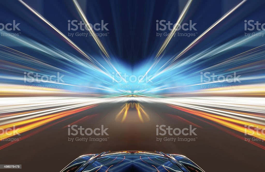 car on road with motion blur background. stock photo