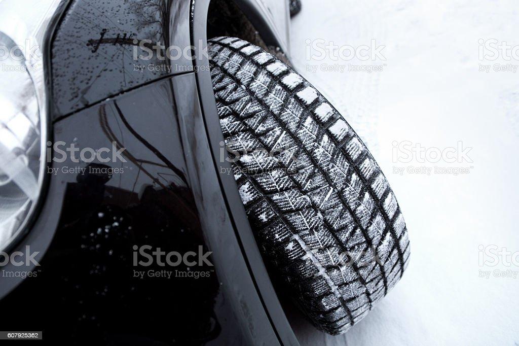 Car on snow stock photo